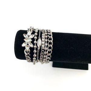 BCBG Silver-Tone 6 Crystal Layer Bracelet NEW